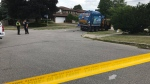 Police respond to Barkwood Crescent in North York, where a woman was fatally struck by a vehicle. (Craig Wadman)