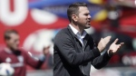 A father of four in addition to being Toronto FC coach, Greg Vanney is likely used to have his nerves tested. Vanney is seen directing his team against the Colorado Rapids in the first half of an MLS soccer match in Commerce City, Colo., on April 14, 2018. (THE CANADIAN PRESS/AP, David Zalubowski)