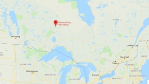 Eabametoong First Nation is indicated on this map. (Google)