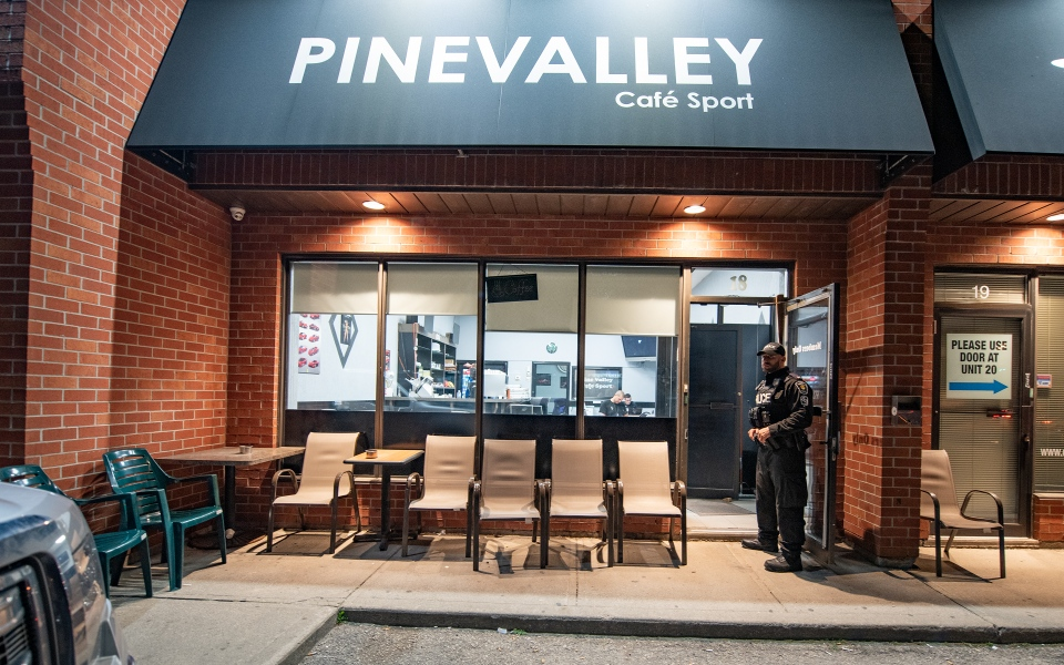 The Pine Valley Cafe Sport on Rowntree Dairy Road in Vaughan is seen. It was one of the 11 cafes where police executed warrants. (York Regional Police)