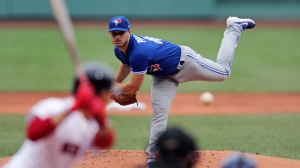 Toronto Blue Jays starting pitcher Thomas Pannone delivers during the first inning of a baseball game against the Boston Red Sox at Fenway Park in Boston, Thursday, July 18, 2019. (AP Photo/Charles Krupa)