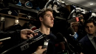 Toronto Maple Leafs right wing Mitch Marner speaks to reporters after a locker clean out at the Scotiabank Arena in Toronto, on Thursday, April 25, 2019. THE CANADIAN PRESS/Christopher Katsarov