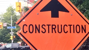 A construction sign on Richmond Street West on July 19, 2019 is seen. (CTV News Toronto / Phil Fraboni)