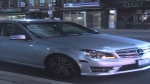A Mercedes sedan damaged in a collision with a pedestrian on Avenue Road is shown on July 20, 2019. (CP24)