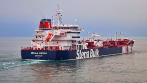 In this undated photo issued Friday July 19, 2019, by Stena Bulk, showing the British oil tanker Stena Impero at unknown location, which is believed to have been captured by Iran.  Iran's Revolutionary Guard announced on their website Friday July 19, 2019, it has seized a British oil tanker in the Strait of Hormuz, the latest provocation in a strategic waterway that has become a flashpoint in the tensions between Tehran and the West. (Stena Bulk via AP)