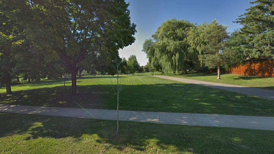 A park adjacent to Cassandra Boulevard is shown in a Google Streetview image.