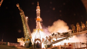 The Soyuz-FG rocket booster with Soyuz MS-13 spaceship carrying a new crew to the International Space Station, ISS, blasts off at the Russian leased Baikonur cosmodrome, Kazakhstan, Saturday, July 20, 2019.  (AP Photo/Dmitri Lovetsky)