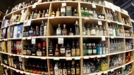 This June 16, 2016 file photo made with a fisheye lens shows bottles of alcohol during a tour of a state liquor store in Salt Lake City. Alcohol-related health problems are posing a growing burden on Ontario emergency rooms, including a disproportionate spike in visits by women and young people, a new study suggests. THE CANADIAN PRESS/AP, Rick Bowmer