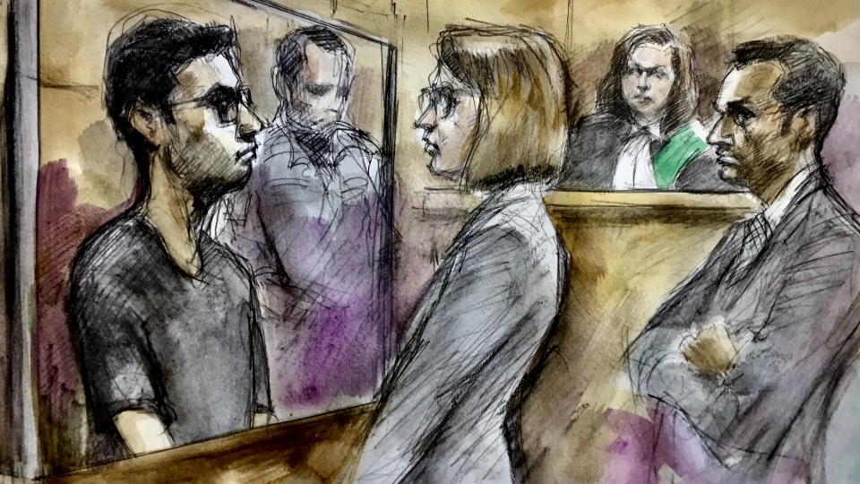 Menhaz Zaman is pictured in this court sketch on July 29, 2019. (Pam Davies/ CTV News Toronto)