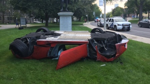 A Lamborghini was involved in a collision at Queen's Park on Saturday night. (CTV News/Ricardo Alfonso)