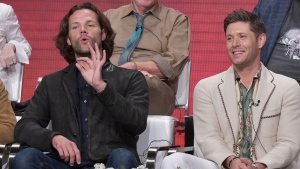 "Jared Padalecki, left, and Jensen Ackles participate in The CW ""Supernatural: Final Season"" panel during the Summer 2019 Television Critics Association Press Tour at the Beverly Hilton Hotel on Sunday, Aug. 4, 2019, in Beverly Hills, Calif. (Photo by Richard Shotwell/Invision/AP)"