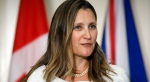 Canada's Minister of Foreign Affairs Chrystia Freeland speaks during a press conference alongside British Foreign Secretary Dominic Raab following a bilateral meeting in Toronto, Tuesday, Aug. 6, 2019. THE CANADIAN PRESS/Cole Burston