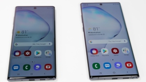 In this Monday, Aug. 5, 2019, photo the Samsung Galaxy Note 10, left, and the Galaxy Note 10 Plus, right, is shown in New York. Samsung's newest smartphone won't have a headphone jack. The Galaxy Note 10 loses that, even though Samsung executives have long poked fun at rivals for ditching it. (AP Photo/Frank Franklin II)