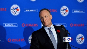 Toronto Blue Jays new president and chief executive officer Mark Shapiro holds a news conference in Toronto on Monday, Nov.2, 2015. After clearing out almost every vestige of the 2015-2016 post-season teams, Blue Jays president Mark Shapiro is ready to move Toronto into the future. THE CANADIAN PRESS/Nathan Denette