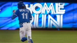 Toronto Blue Jays Bo Bichette hits a two run home run against the New York Yankees during the fifth inning of their American League MLB baseball game in Toronto Thursday August 8, 2019. (THE CANADIAN PRESS/Fred Thornhill)