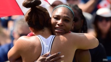 Bianca Andreescu consoles Serena Williams