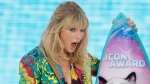 Taylor Swift accepts the Icon award at the Teen Choice Awards on Sunday, Aug. 11, 2019, in Hermosa Beach, Calif. (Photo by Danny Moloshok/Invision/AP)