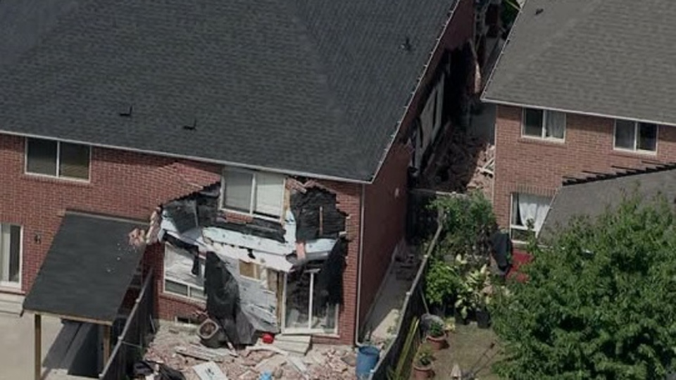Damage is seen after a home in Brampton exploded on Aug. 13, 2019. (Chopper 24)
