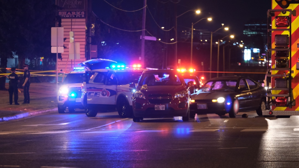 York Regional police say a person and a police officer have been taken to hospital after a shooting near Steeles and Islington on Tuesday (Peter Muscat)