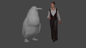 "This illustration provided by the Canterbury Museum, shows the approximate height of a giant penguin, a ""crossvallia waiparensis"" next to a human being. Scientists in New Zealand say they've found fossilized bones from an extinct monster penguin that was about the size of a human and swam the oceans some 60 million years ago. (Canterbury Museum via AP)"