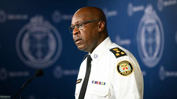 Toronto Police Chief Mark Saunders delivers remarks and takes questions from reporters at a press conference in Toronto, on Friday, Aug. 9, 2019. THE CANADIAN PRESS/Christopher Katsarov