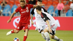 Toronto FC's Nick DeLeon plays the ball against the Ottawa Fury during the second half of Canadian Championship soccer action in Toronto, Wednesday August 14, 2019. THE CANADIAN PRESS/Mark Blinch