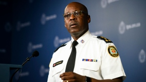 Toronto Police Chief Mark Saunders delivers remarks and takes questions from reporters at a press conference in Toronto, on Friday, Aug. 9, 2019. (THE CANADIAN PRESS / Christopher Katsarov)