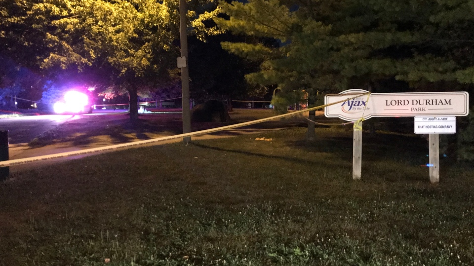 Police tape is pictured at Lord Durham Park in Ajax following a stabbing Wednesday August 14, 2019. (Mike Nguyen /CP24)
