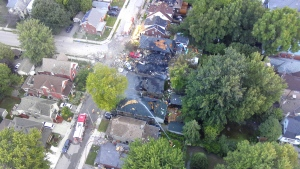 The scene of a home explosion in London, Ont. is pictured in this aerial image released by police Thursday August 15, 2019. (Handout /London Police