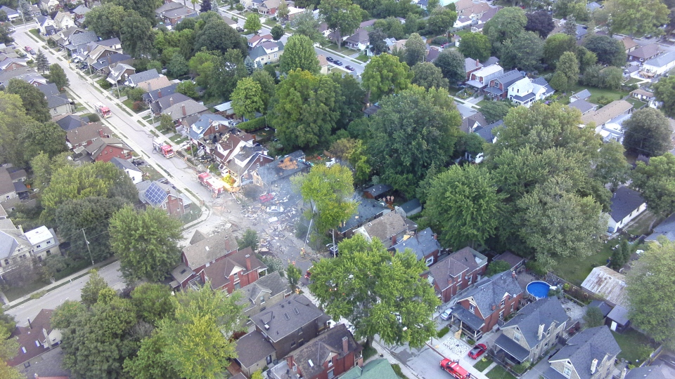 The scene of a home explosion in London, Ont. is pictured in this aerial image released by police Thursday August 15, 2019. (Handout /London Police)