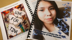 Copies of a special report on the death of fifteen-year-old Tina Fontaine released by Daphne Penrose, the Manitoba Advocate for Children and Youth, are pictured at a release event at the Sagkeeng Mino Pimatiziwin Family Treatment Centre on the Sagkeeng First Nation, Man., Tuesday, March 12, 2019. THE CANADIAN PRESS/John Woods