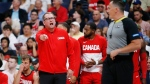 Canada's head coach Nick Nurse protests a call for Nigeria during the second half of their exhibition game in Winnipeg, Friday, August 9, 2019 in preparation for the FIBA Basketball World Cup. THE CANADIAN PRESS/John Woods