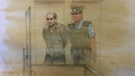 Alek Minassian is seen in this court sketch on Aug. 16, 2019. (John Mantha/ CTV News Toronto)