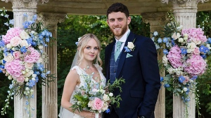 In this photo issued by photographer Mark Lord, showing 28-year-old Thames Valley Police officer Andrew Harper and his wife, Lissie, celebrating their wedding at Ardington House in Ardington, England, on Thursday July 18, 2019. Police officer Andrew Harper died after being dragged by a vehicle, while he investigated a reported burglary, police said Friday Aug. 16, 2019. Police have detained several suspects in connection with the murder, the youngest is is known to be 13-years old. (Mark Lord via AP)