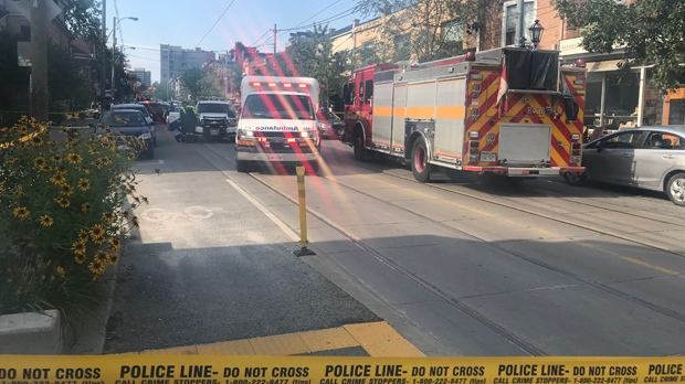 Emergency crews are seen on Roncesvalles Avenue after a man was shot to death there on Aug. 16, 2019. (Kelly Linehan/CP24)
