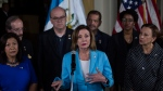 In this Aug. 8, 2019, file photo, House Speaker Nancy Pelosi gives a news conference at the Air Force Base in Guatemala City. There's an American leader whose words increasingly resonate abroad, who's adored in foreign capitals and who sends a message just by her arrival. House Speaker Nancy Pelosi has emerged as an alternative ambassador in the Trump era. (AP Photo/Oliver de Ros, File)