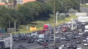 One person is dead after a multi-vehicle collision on Highway 401 and Keele Street on Saturday. (CP24)