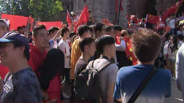Pro-Hong Kong and pro-China groups met at Old City Hall on Saturday as a planned march in support of Hong Kong protestors was stalled. (CP24)