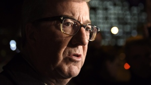 Ottawa Mayor Jim Watson speaks in Ottawa on Thursday, Nov. 10, 2016. Watson came out as gay in a column published in the Ottawa Citizen on Saturday. (THE CANADIAN PRESS/Justin Tang)