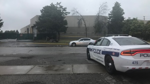Police investigate a shooting in the area of Dixie Road and Advance Boulevard in Brampton Saturday August 18, 2019. (Brandon Gonez /CP24)