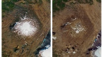 This combination of Sept. 14, 1986, left, and Aug. 1, 2019 photos provided by NASA shows the shrinking of the Okjokull glacier on the Ok volcano in west-central Iceland. (NASA via AP)
