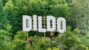 A Hollywood-like sign can be seen over the town of Dildo, Newfoundland in Canada in this undated handout photo provided August 19, 2019. (THE CANADIAN PRESS/HO, Marilyn Crotty)