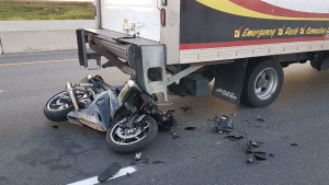 A motorcyclist is seriously injured after a crash on Highway 427 on Monday evening. (Twitter/OPP_HSD/Kerry Schmidt)
