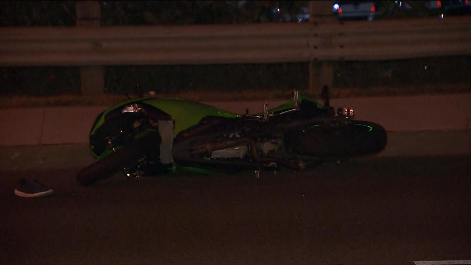 Two people are seriously injured after a car and a motorcycle collided in Scarborough on Monday. (CP24)
