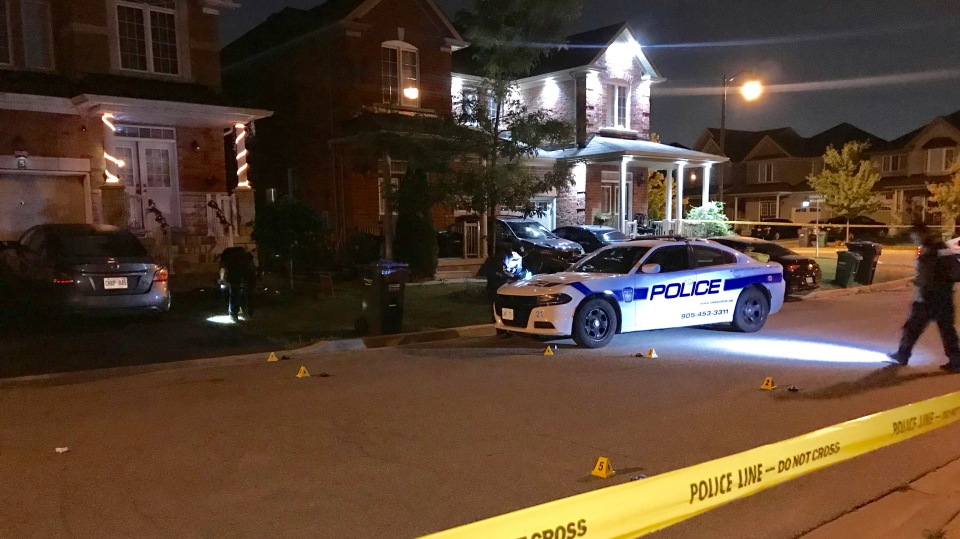 Police investigate a shooting on Matthew Harrison Street in Brampton Tuesday August 20, 2019. (Mike Nguyen /CP24)