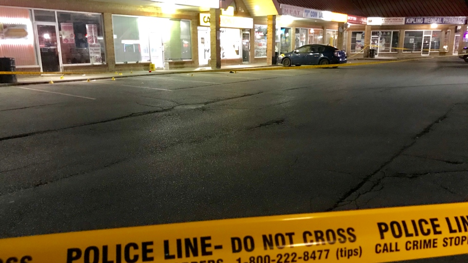 Police investigate a shooting at a plaza on Kipling Avenue near Mount Olive Road Monday August 19, 2019. (Mike Nguyen /CP24)
