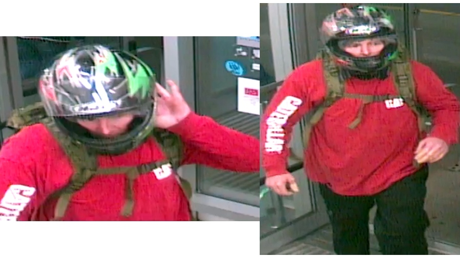 Man wearing a helmet wanted for robbing Bowmanville pharmacy