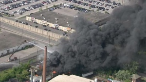 Crews are battling a fire at a business in Mississauga. (CP24)
