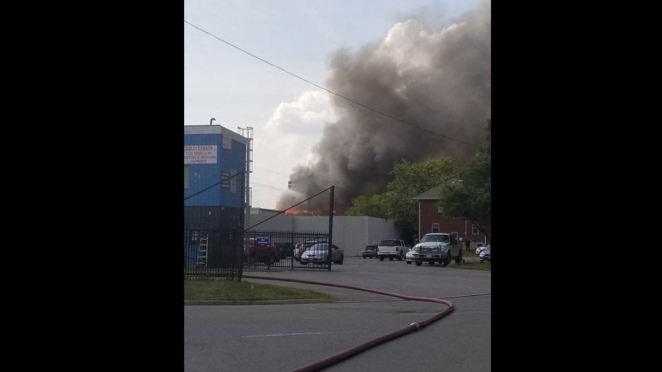 A massive fire broke out at a commercial property in Mississauga on Wednesday. (Twitter/Peel Police