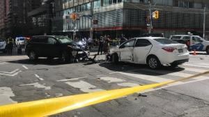 Four people were injured following a pedestrian-involved collision near Bay and College streets. (Cristina Tenaglia/ CP24)